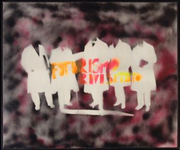 Mario Schifano, Futurismo rivisitato a colori, acrilici su tela, 95x115 cm