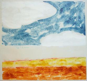 Mario Schifano, Paesaggio anemico, 1970, acrilici su tela 97,5x105 cm. Collezione privata