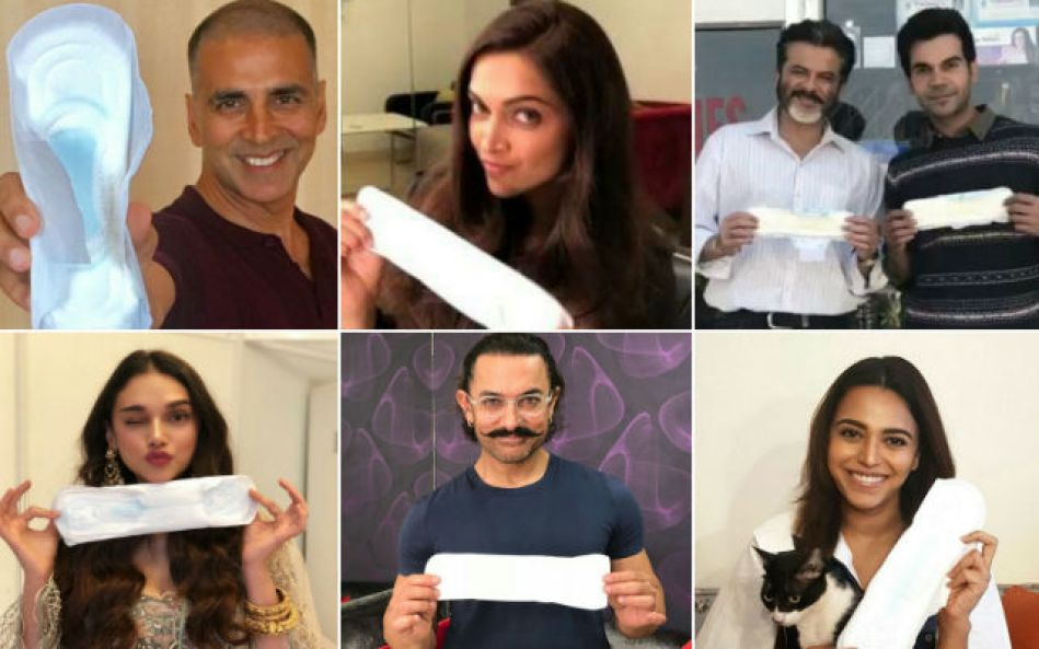 Image result for Bollywood including Deepika Padukone, Anil Kapoor, Ayushmann Khurrana and Alia Bhatt posed with a sanitary napkin in their hands