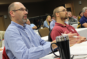 Photo of Barry Paye, Wisconsin DOT chief materials engineer; and Tim Clyne, MnDOT Metro District materials engineer.