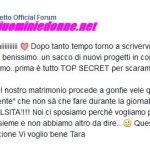 Messaggio di Tara Gabrieletto da facebook