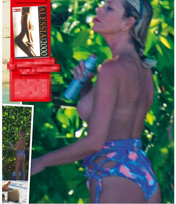 Alessia Marcuzzi in hot topless alle Maldive