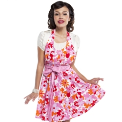 Flowery apron with front tie