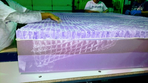 white powder on a purple mattress