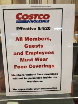 costco requires face masks