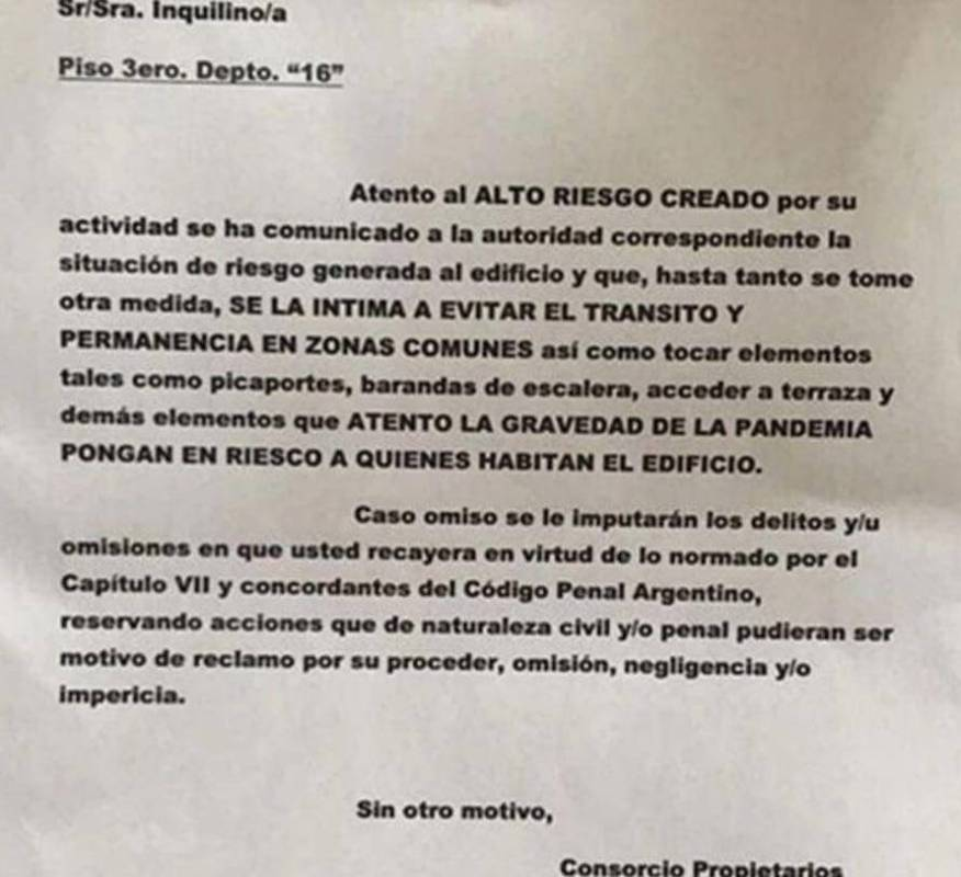 The letter that was left to the doctor who lives in Belgrano. (Photo: TN).
