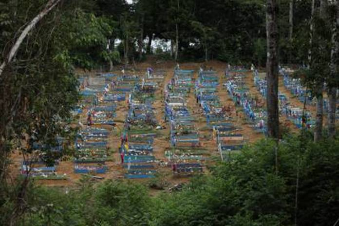 The Parque Taruma cemetery, specially built to house coronavirus deaths in the state of Manaus. Photo: REUTERS / Bruno Kelly