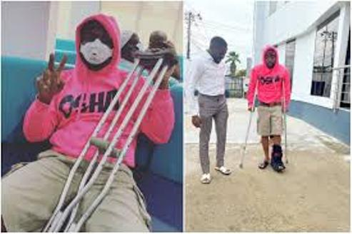 Davido Confine To Crutches After He Fractures His Leg