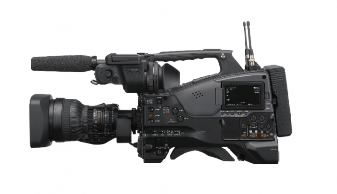 Sony PXW-Z750- 4K video camera mounted on the shoulder with global shutter