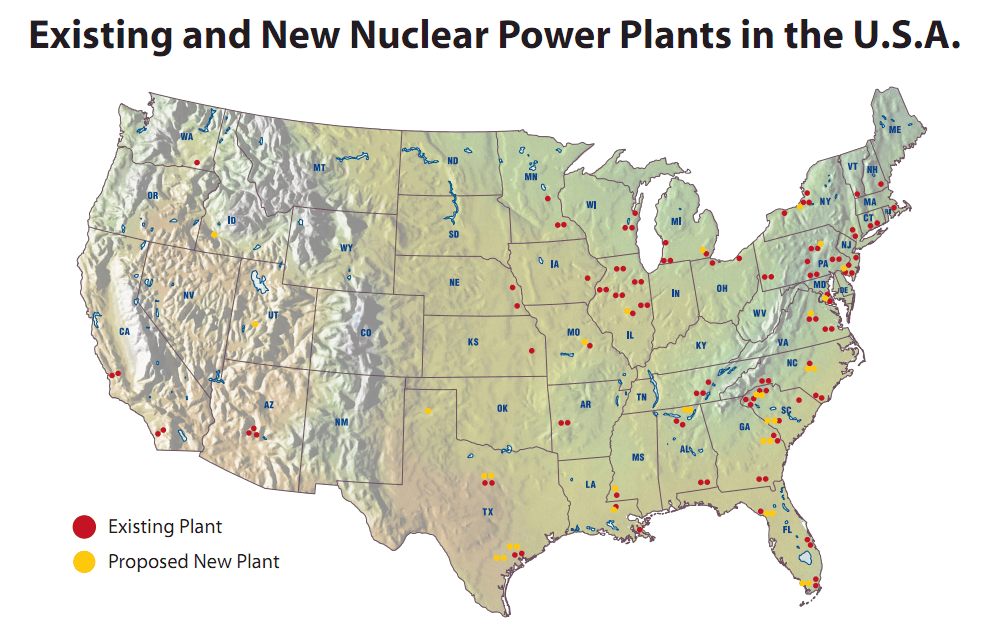 NRC Map Of Power Reactor Sites US Nuclear Reactor Power Plant - Us map of nuclear power plants