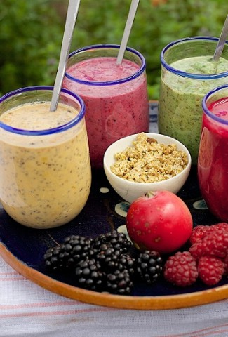 Fat Burning Weight Loss Breakfast Smoothie Recipes Tray Filled with Four Glasses of Smoothies