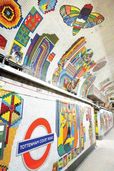 Tottenham Court Road Underground Station, London, 1986, Translucent glass mosaic, Photograph © Transport for London.