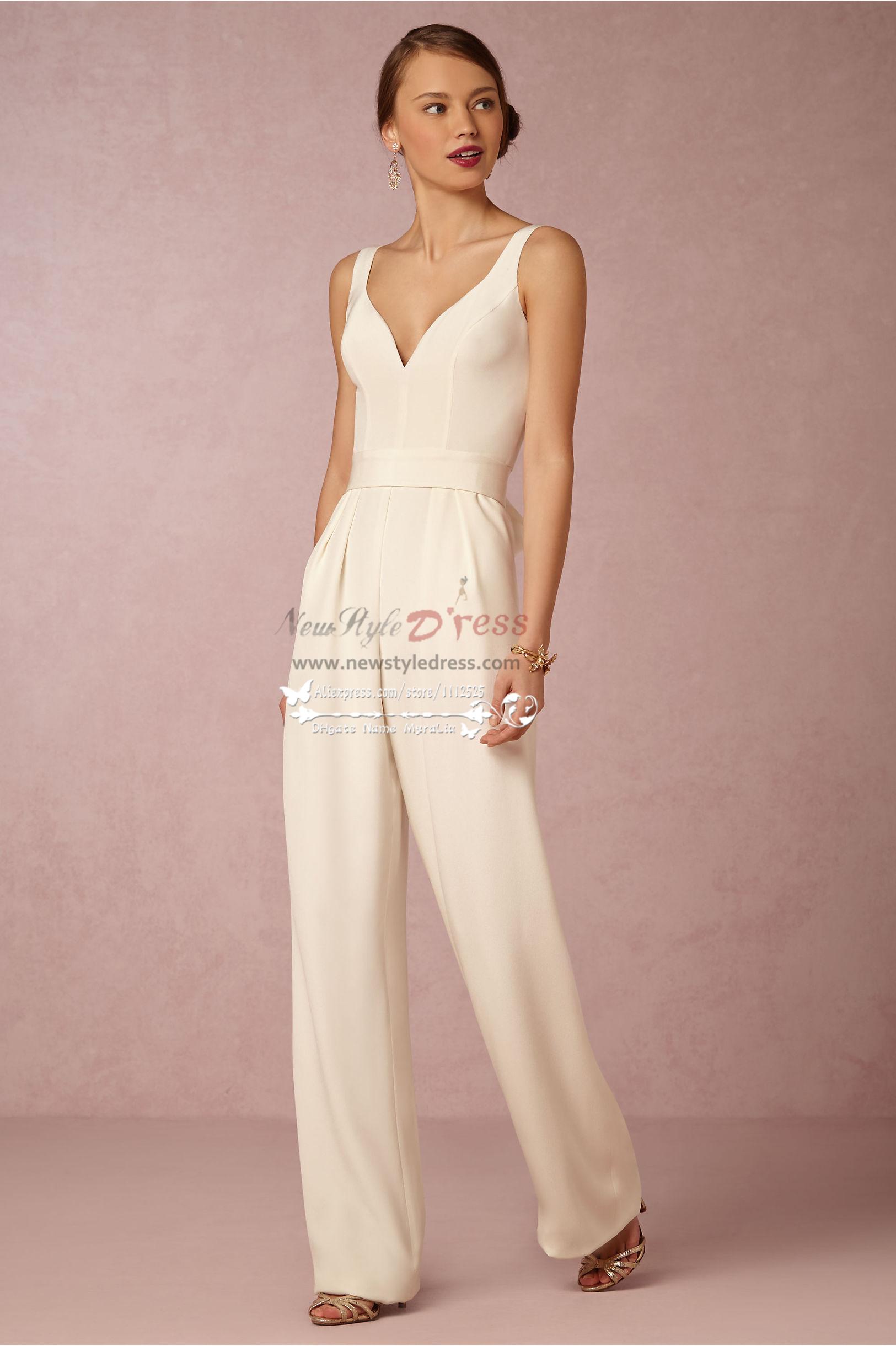 Modern Bridal Jumpsuit Simple Wedding Pantsuits Wps 078