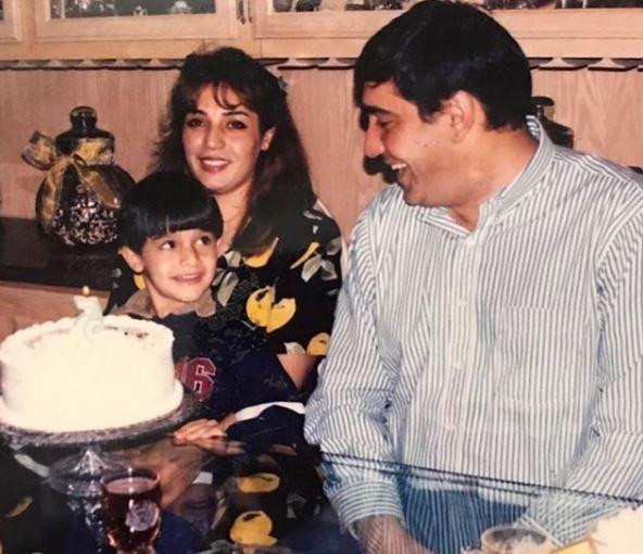 Childhood photo of Sam Asghari with his dad Mike Asghari and mother Fatima Asghari