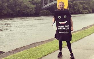 Wheelie bin runner raises awareness of new kerbside service