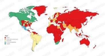 Carte légalisation cannabis dans le monde