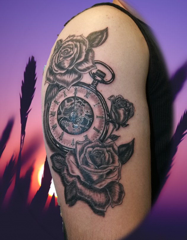 Watch & Roses tattoo - Tatouage Montre & Roses - France (40)