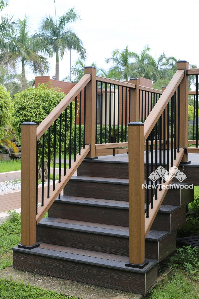 Deck Railing Composite Outdoor Deck Rails Newtechwood | Exterior Wood Handrails For Steps | Attached | Ready Made | Off Deck | Stoop | Pinterest