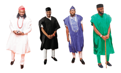Dashing in cropped Agbada for Easter