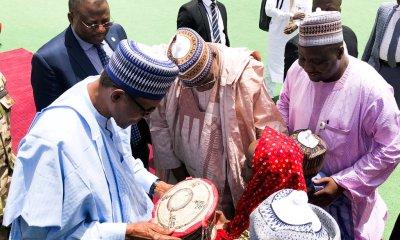 BREAKING: Buhari arrives Yobe, meet parents of Dapchi girls (PHOTOS)