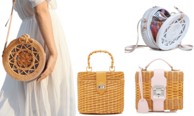 Give your outfit a retro appeal with rattan bag