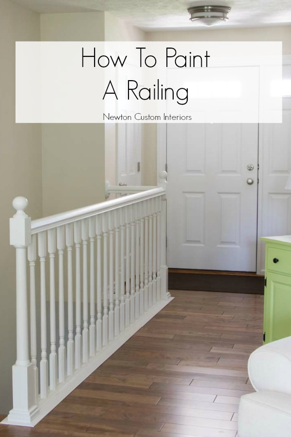 How To Paint Stair Railings Newton Custom Interiors | Grey Banister White Spindles | Silver | Indoor | Pewter | Gloss | Wrought Iron