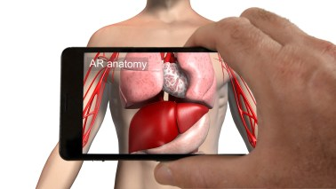 Smartphone augmented reality app showing organs inside a body.