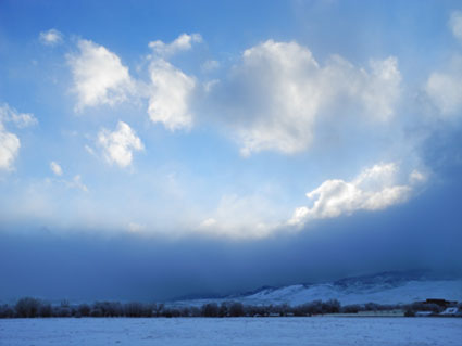 End of a snow storm in Reno, Nevada, NV.