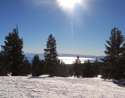 Lake Tahoe winter, looking south from above Incline Village.