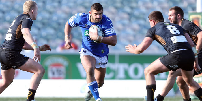 Veteran 100+ game forward Ray Moujalli will once again lead the charge for the Jets this Sunday against Wyong Roos.  Photo: Robb Cox (NRL)