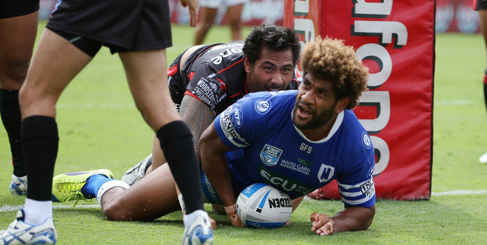 It looks like Junior Roqica has scored a try for the Newtown Jets at Mt Smart Stadium on Sunday, but unfortunately the referee ruled otherwise. Photo: Photosport NZ.