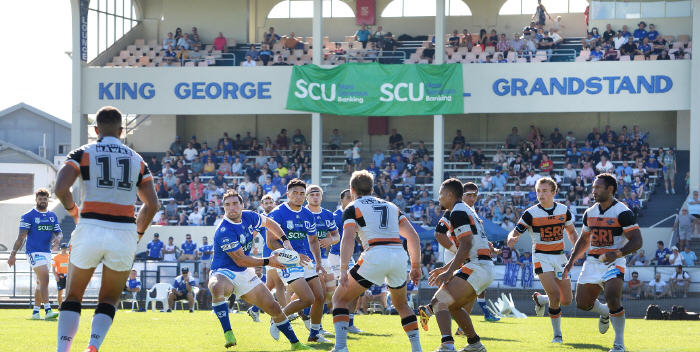 Newtown Jets impact benchman Jason Schirnack swings out a pass against Wests Tigers in this splendid Henson Park panorama taken on Saturday, 2nd April 2016. Photo: Michael Magee Photography.