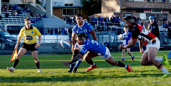 Newtown Jets centre Bessie Aufaga-Toomaga scores against Wests Tigers at Henson Park last Saturday. Photo: Michael Magee Photography.