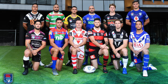 Players from the 12 clubs competing in the  the 2019 Canterbury Cup NSW competition were on photo call at the season launch held at the NSWRL Centre of Excellence at Homebush. Newtown's team captain Anthony Moraitis is in the back row, third in from the right. Photo: Supplied courtesy of the NSWRL.