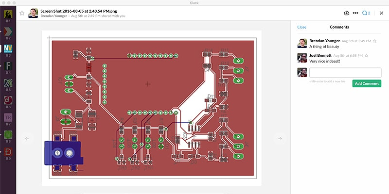 Screen capture from Slack. The final design of the device's printed circuit board (PCB).