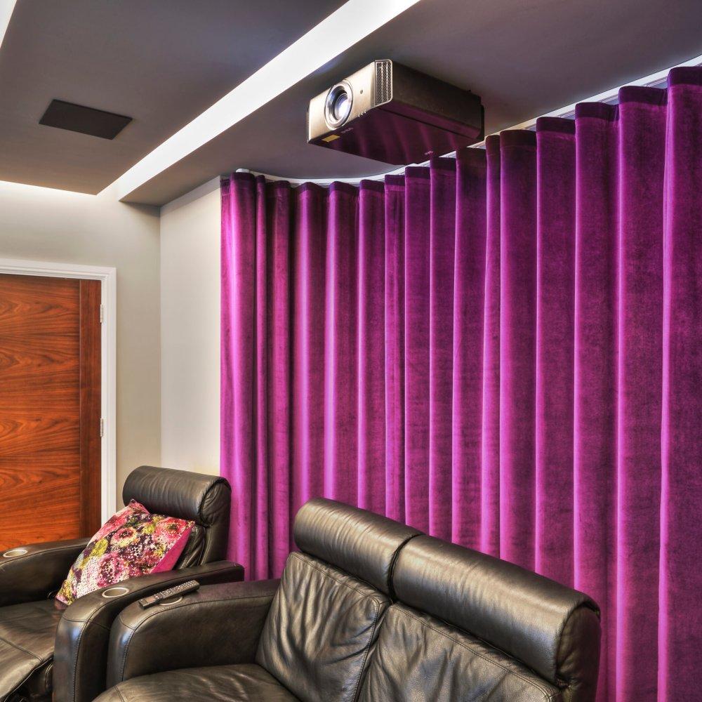 automated motorised cinema shading curtain tracks