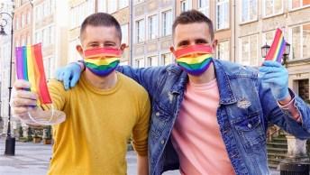 Kwiecinski and Mycek with their rainbow face masks.