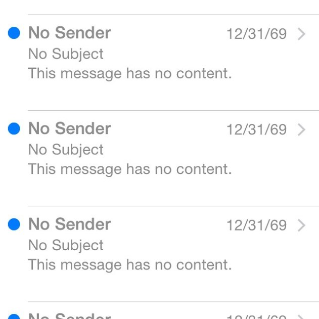 No sender 1969 iPhone emails  1969 and 1970 iPhone Email Glitch Fix