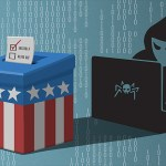 Hacker on laptop hacking voting machine