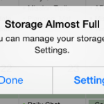 Storage almost full error message