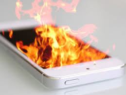Phone on fire from overheating