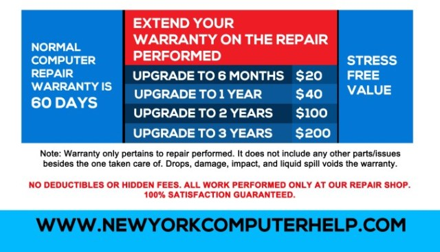 Best Computer Repair Extended Warranty Service in NYC