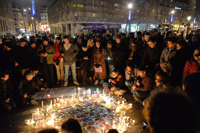A tribute at the  Place de la République, in Paris, to victims killed during the attack at Charlie Hebdo.