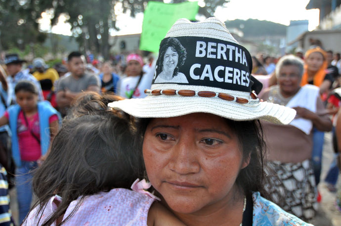Demonstrators protest the murder of Berta Cáceres last week in La Esperanza, Honduras.
