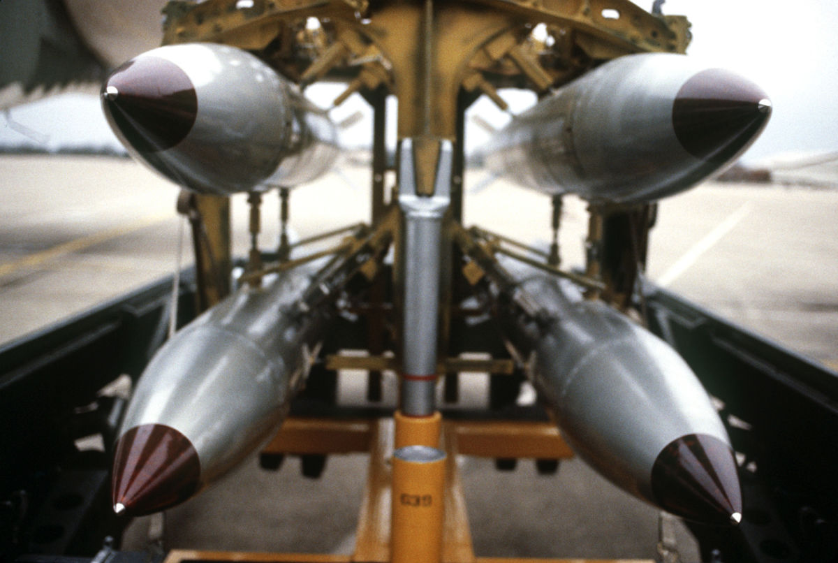 B-61 nuclear bombs, the same model as those stored by the U.S. at airbases in various NATO countries, often under lax safeguards.
