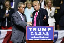 Nigel Farage, former head of the United Kingdom Independence Party and one of the most widely regarded public proponents of Brexit.  RIGGED: Leaked Emails Reveal How Media is Rigging Polls for Hillary Cassidy Donald Trump Nigel Farage 1200