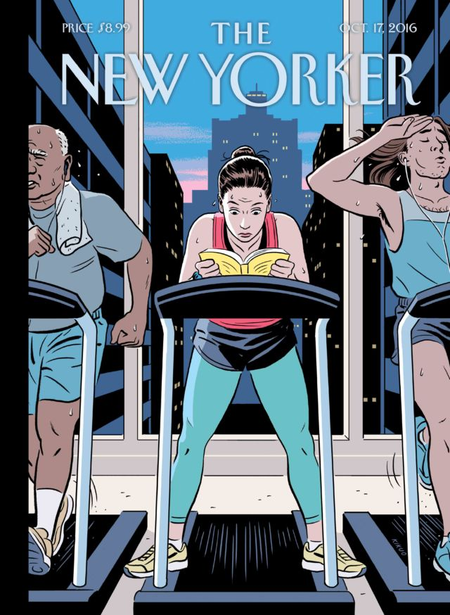 """Cover of New Yorker, October 17, 2016. """"The Finish Line,"""" by R. Kikuo Johnson."""
