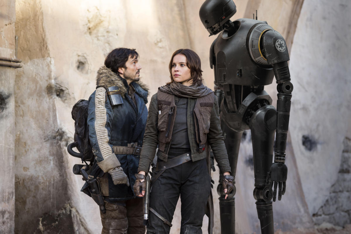 """Constrained by a flat and inexpressive script, """"Rogue One: A Star Wars Story"""" lets neither its characters nor even its special effects come to life."""