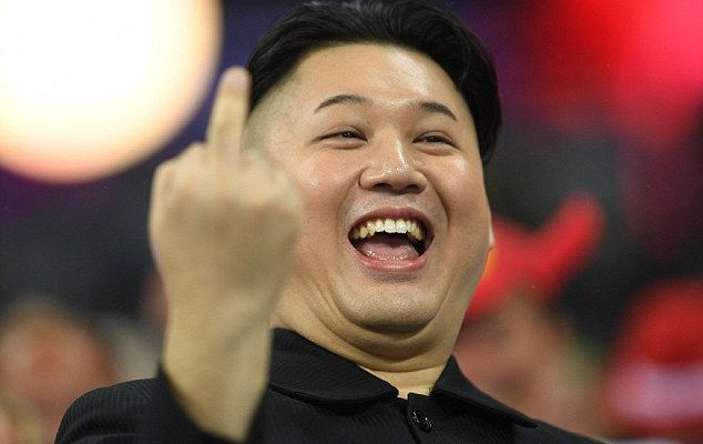 Kim Jong-Un gives the finger