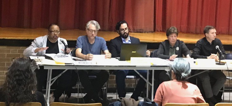 Community Board 3's January 2018 meeting. New chair Alysha Lewis Coleman is on the left.
